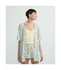 pijama blusa de alcinha robe e short estampa floral | lov | azul | gg