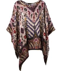 etro patchwork print poncho