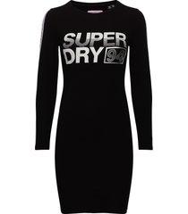 bodycon graphic mini dress knälång klänning svart superdry