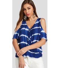 yoins blue crossed front diseño blusa con hombros descubiertos y rayas con efecto tie dye