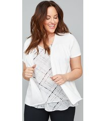 lane bryant women's short sleeve cardigan 26/28 white