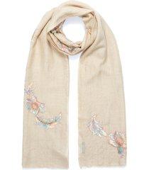 swarovski crystal floral lace patch cashmere scarf