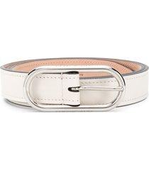 acne studios slim leather belt - white