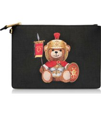 moschino designer handbags, roman teddy bear flat clutch w/wristlet