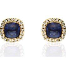 orecchini a lobo placcato oro con pietra blu e zirconi per donna