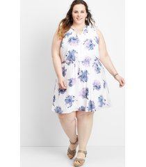 maurices plus size womens floral v-neck tie waist dress white