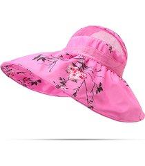 donna cappello estivo pieghevole in mesh traspirabile anti-uv con tesa larga
