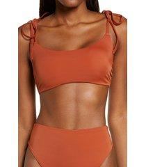 women's chelsea28 easy retro tie strap bikini top, size xx-small - brown
