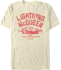 disney pixar men's cars distressed lightning mcqueen 5 time champ short sleeve t-shirt