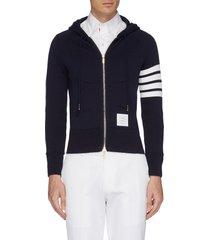 stripe raglan sleeve zip hoodie