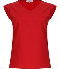 blusa mujer m/s unicolor color rojo, talla s
