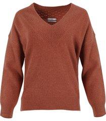 copper-tone v-neck sweater