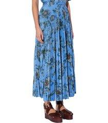 women's erdem nesrine floral print pleated skirt, size 2 us - blue