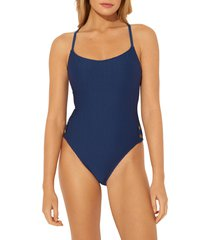women's bleu by rod beattie floating underwire one-piece swimsuit, size 10 - blue