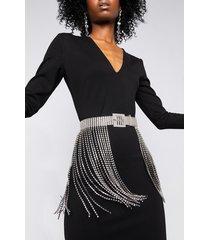 akira shake a tail feather rhinestone fringe skirt belt