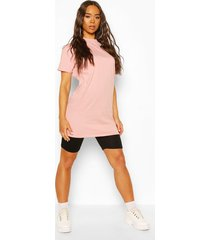 basic long line cotton t-shirt, rose