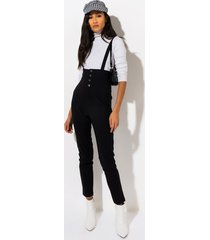 akira feel it coming skinny leg suspender jumpsuit
