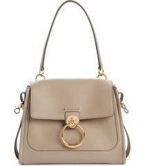 chloe small tess leather day bag - grey