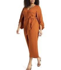 plus size women's eloquii puff sleeve jumpsuit, size 26w - brown