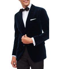men's bonobos slim fit stretch velvet dinner jacket, size 38 regular - blue