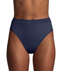 l*space by monica wise women's novelty ridin high ribbed frenchie bikini bottom - midnight blue - size xl
