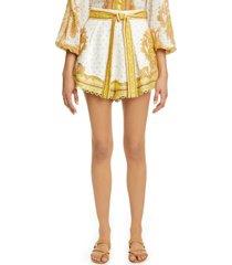 women's zimmermann bells paisley linen shorts, size 3 - ivory