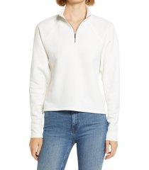 women's treasure & bond zip mock neck sweatshirt, size x-large - ivory