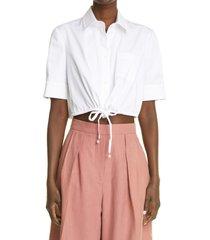 altuzarra ben crop drawstring cotton button-up shirt, size 10 us in optic white at nordstrom