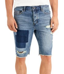 """sun + stone men's meyer regular-fit patch destroyed 11"""" denim shorts, created for macy's"""