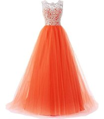 blevla a-line straps lace bodice prom dress long tulle formal gowns orange us 16