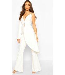 boohoo getailleerde uitlopende broek voor de gelegenheid, wit