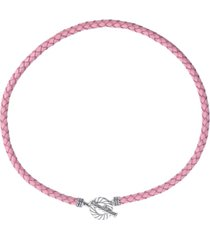 american west pink leather toggle necklace in sterling silver