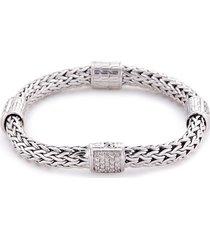 diamond silver woven chain charm bracelet