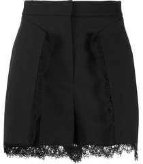 alexander mcqueen lace-trimmed shorts - black