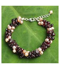 cultured pearl and garnet beaded bracelet, 'gracious lady' (thailand)
