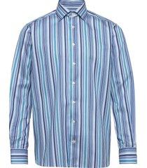 blue twill shirt – geometric details overhemd casual blauw eton