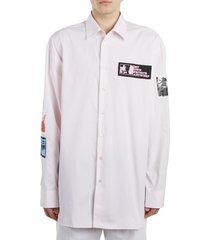 men's raf simons patch oversize cotton shirt