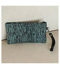 leather accented wool wristlet, 'deep ocean' (mexico)