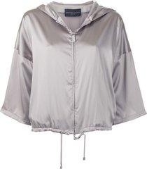 fabiana filippi satin zip-up blouse - grey