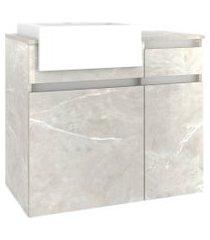 conjunto p/ banheiro c/ espelheira tecla tomada led e gabinete c/ cuba cora 80cm mb bosi cinza