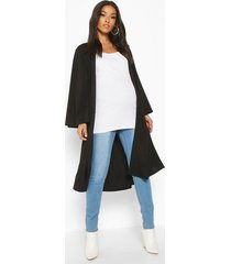 maternity belted duster jacket, black