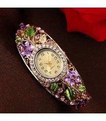 orologio a quarzo con cloisonné di cristalli