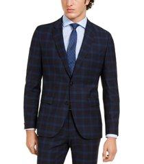 hugo hugo boss men's classic-fit navy plaid suit separate jacket