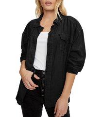 women's michael stars linen trucker jacket
