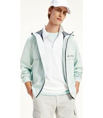 tommy hilfiger men's hooded tech jacket oxygen - l