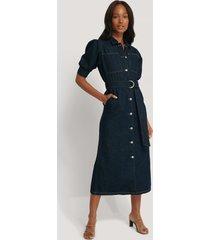 na-kd trend puff sleeve belted denim dress - blue