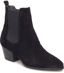 booties - block heel - with elas shoes boots ankle boots ankle boot - heel svart angulus
