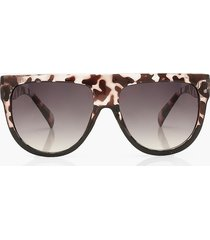flat top animal print sunglasses, black