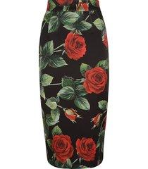 dolce & gabbana rose print zipped skirt