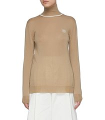 anagram embroidered turtleneck cashmere sweater